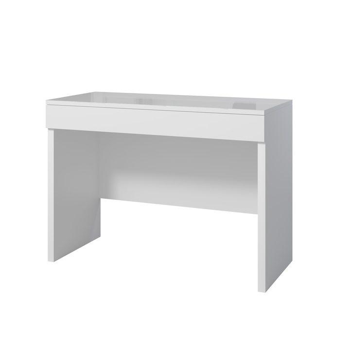 Аво Туалетный столик с 1 ящиком, белое стекло, ЛДСП белый