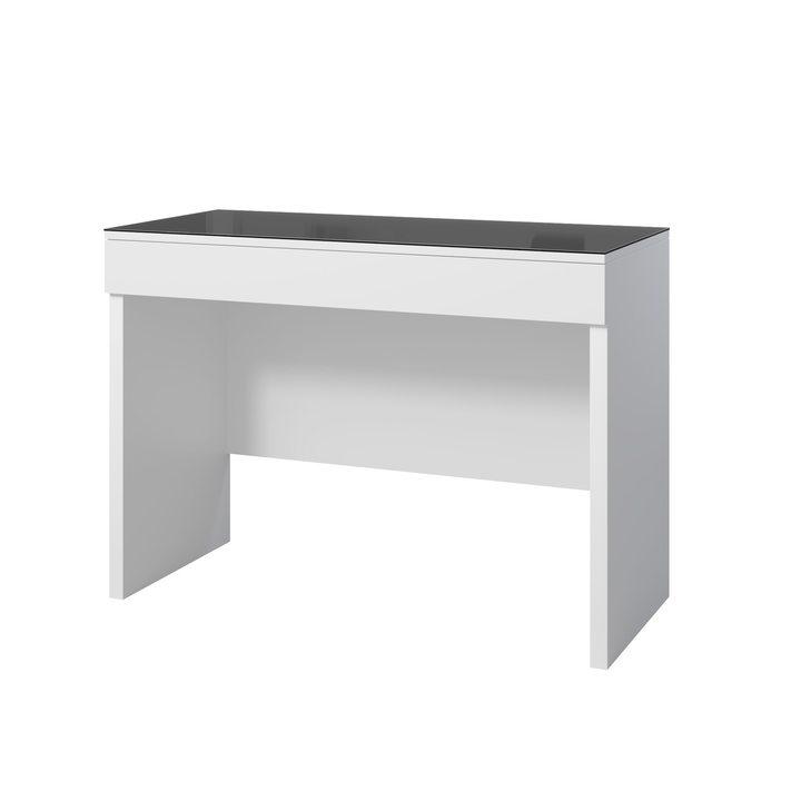 Аво Туалетный столик с 1 ящиком, черное стекло, ЛДСП белый