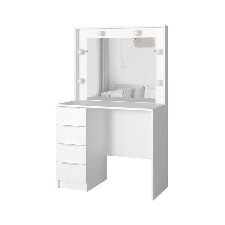 Валске Туалетный столик с гримерным зеркалом и 4 ящиками, ЛДСП белый
