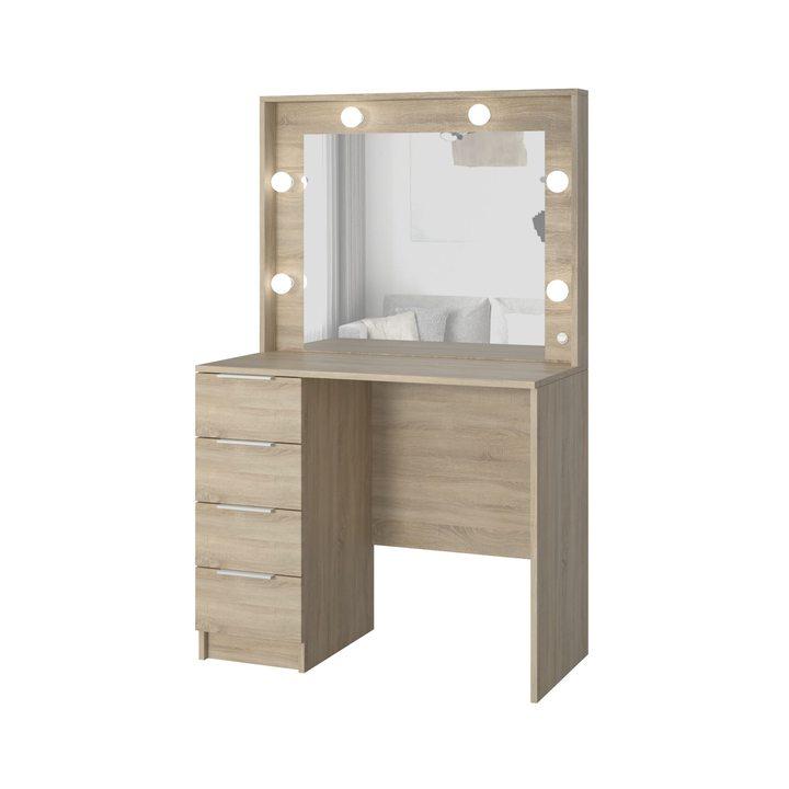 Валске Туалетный столик с гримерным зеркалом и 4 ящиками, ЛДСП дуб сонома