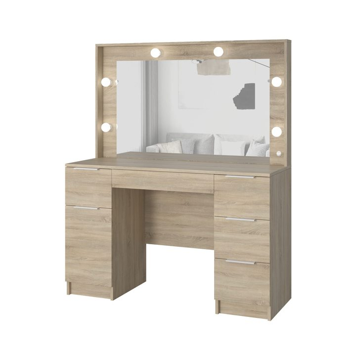 Валске Туалетный столик с гримерным зеркалом и 5 ящиками, ЛДСП дуб сонома