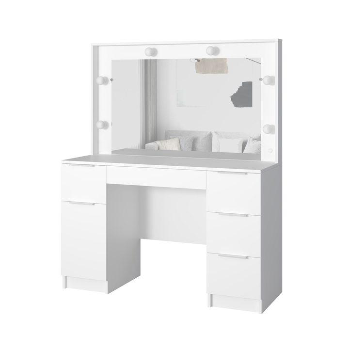 Валске Туалетный столик с гримерным зеркалом и 5 ящиками, ЛДСП белый