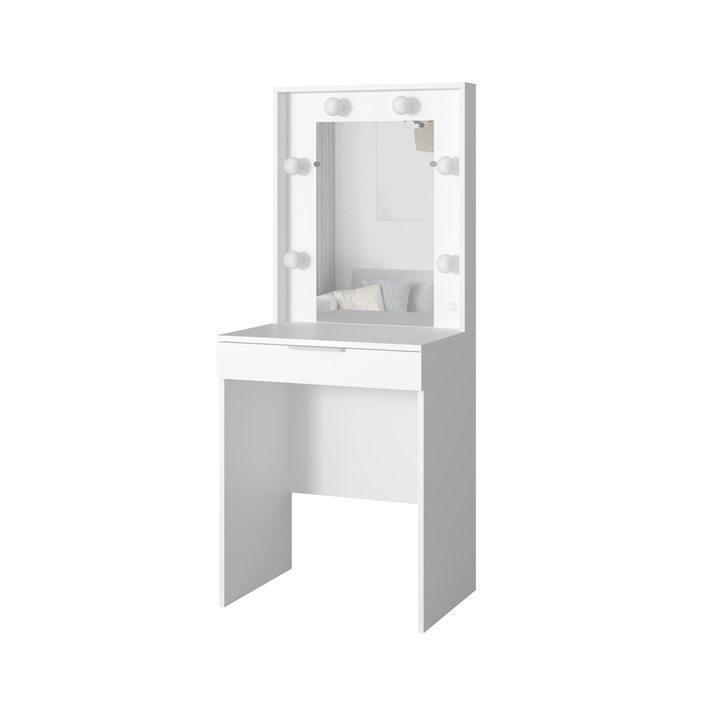 Валске Туалетный столик с гримерным зеркалом и 1 ящиком, ЛДСП белый