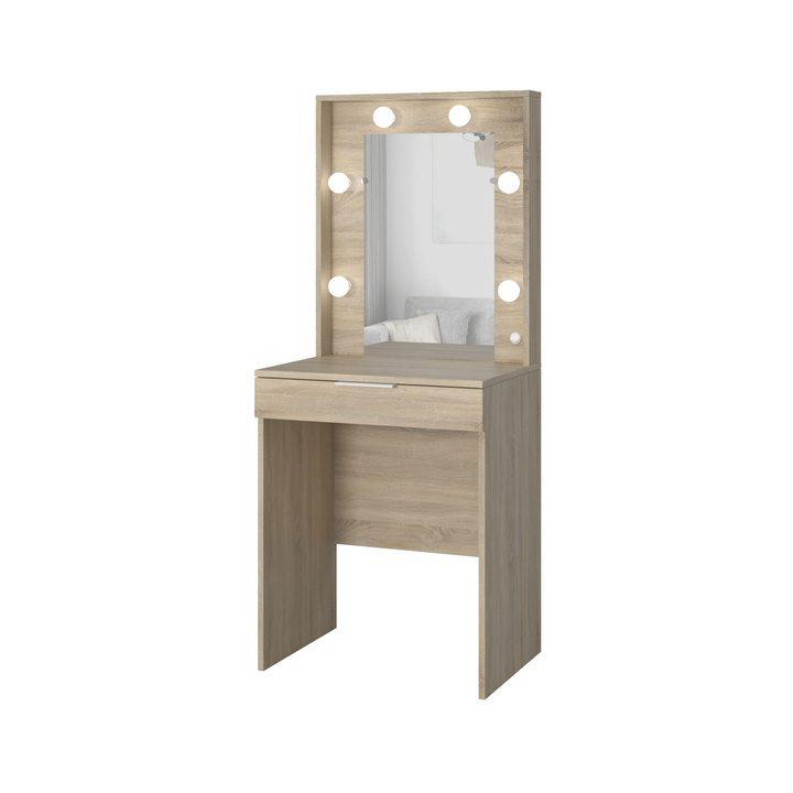 Валске Туалетный столик с гримерным зеркалом и 1 ящиком, ЛДСП дуб сонома
