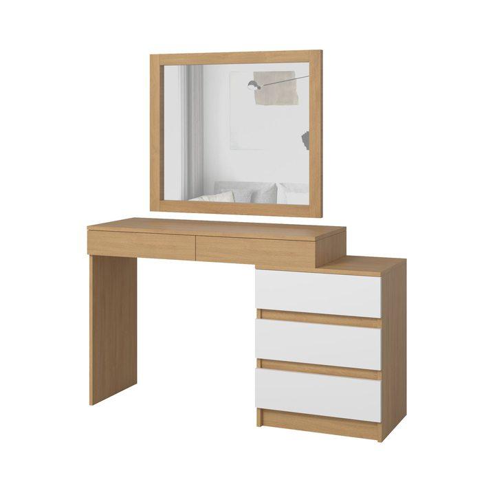 Тердема Туалетный столик с навесным зеркалом и 5 ящиками, ЛДСП белый, дуб ланкастер натуральный