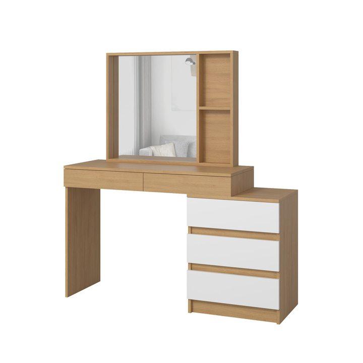 Тердема Туалетный столик с настольным зеркалом и 5 ящиками, ЛДСП белый, дуб ланкастер натуральный