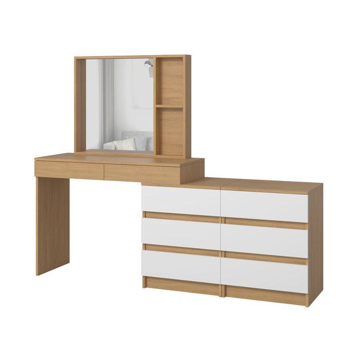 Тердема Туалетный столик с настольным зеркалом и 8 ящиками, ЛДСП белый, дуб ланкастер натуральный